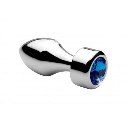Image of Aluminum Buttplug Met Blauw Kristal - Klein